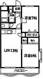 神奈川県横浜市瀬谷区瀬谷5丁目の賃貸マンションの間取り