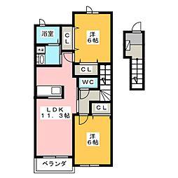 マーベラス B 2階2LDKの間取り