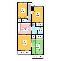 リヴァティーマンションB[2階]の間取り