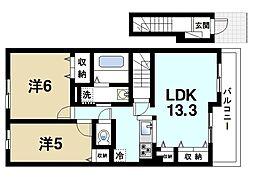 JR桜井線 櫟本駅 徒歩9分の賃貸アパート 2階2LDKの間取り