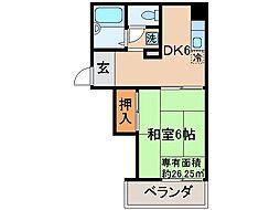 京都府城陽市平川古宮の賃貸アパートの間取り