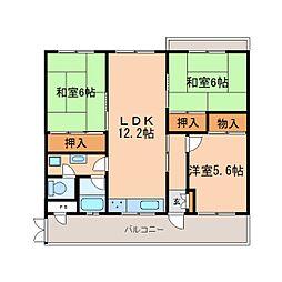 奈良県奈良市中山町西の賃貸マンションの間取り