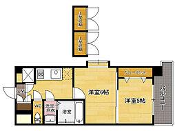 西鉄貝塚線 香椎宮前駅 徒歩1分の賃貸マンション 14階2Kの間取り