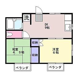 ハイツ矢沢C[2階]の間取り