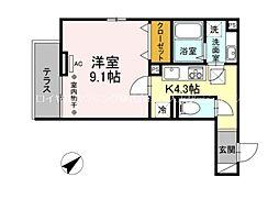 多摩都市モノレール 大塚・帝京大学駅 徒歩5分の賃貸アパート 1階1Kの間取り