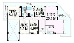 JR山陽本線 姫路駅 バス16分 北新在家2丁目下車 徒歩3分の賃貸マンション 4階4LDKの間取り