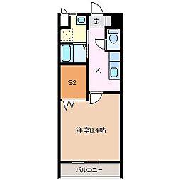 JR大糸線 北松本駅 徒歩9分の賃貸アパート 2階1SKの間取り