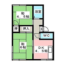 メゾンワタナベB[2階]の間取り