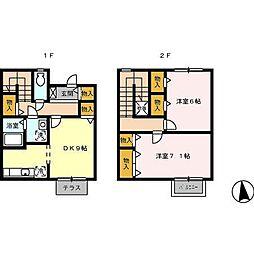 [テラスハウス] 愛知県一宮市伝法寺1丁目 の賃貸【/】の間取り