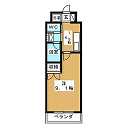 フジマンションコスモ 5階1Kの間取り