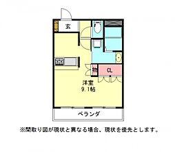 愛知県一宮市大赤見字西川垂の賃貸アパートの間取り