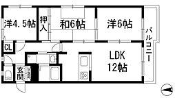 レグリス甲東園East[3階]の間取り