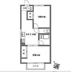 第二マンションウエスト[3階]の間取り