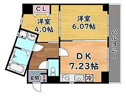 JR東海道・山陽本線 灘駅 徒歩1分の賃貸マンション 7階2DKの間取り