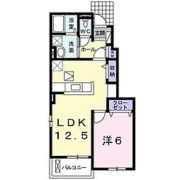 西武秩父線 東飯能駅 徒歩14分の賃貸アパート 1階1LDKの間取り