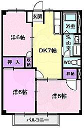 Osaka Metro谷町線 八尾南駅 徒歩22分の賃貸アパート 2階3DKの間取り