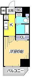 JR中央本線 国立駅 徒歩2分の賃貸マンション 5階1Kの間取り
