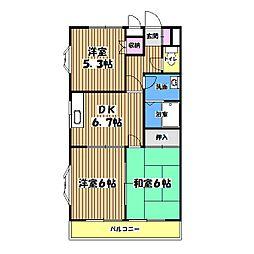 東京都立川市上砂町3丁目の賃貸マンションの間取り