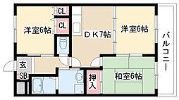 愛知県日進市浅田町上ノ山の賃貸アパートの間取り