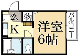 京都府京都市北区紫竹西桃ノ本町の賃貸アパートの間取り