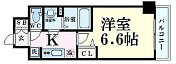 プレサンス梅田II 2階1Kの間取り