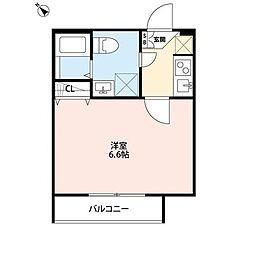 JR横浜線 十日市場駅 徒歩4分の賃貸アパート 2階1Kの間取り