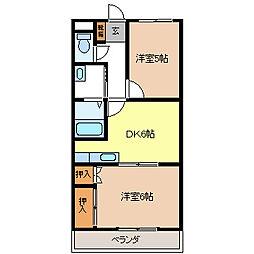 コーポ蓮堀B棟[3階]の間取り