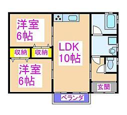 井岡貸家 1階2LDKの間取り