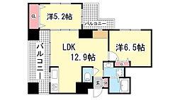 ワコーレ神戸元町アクシア[505号室]の間取り