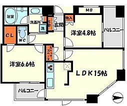 サンマークス大日ルナタワーレジデンス 26階2LDKの間取り