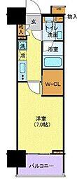 東京メトロ有楽町線 豊洲駅 徒歩8分の賃貸マンション 8階1Kの間取り