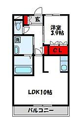 フォレストキング 3階1LDKの間取り
