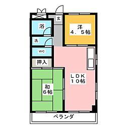 コーポ牛田[4階]の間取り