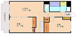 グランデュ—ルシャトーB[3階]の間取り