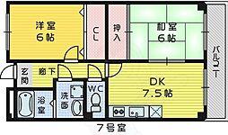 南海高野線 三国ヶ丘駅 徒歩8分の賃貸マンション 2階2DKの間取り