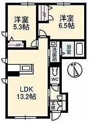 愛媛県松山市余戸西1丁目の賃貸アパートの間取り