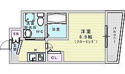 Osaka Metro御堂筋線 江坂駅 徒歩7分の賃貸マンション 9階1Kの間取り