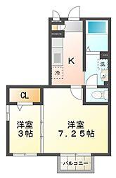 東京都小平市回田町の賃貸アパートの間取り