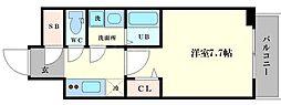 LC大阪ドームシティ 8階ワンルームの間取り
