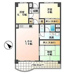 菊田ハイツ[2階]の間取り