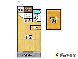 ガーデンプレイス太宰府 1階ワンルームの間取り