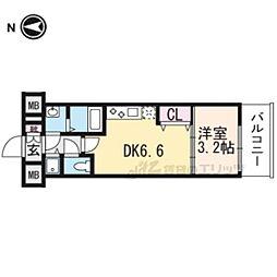 京都市営烏丸線 九条駅 徒歩6分の賃貸マンション 4階1DKの間取り