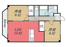 千葉県成田市郷部の賃貸マンションの間取り
