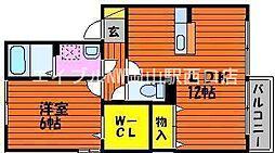 岡山県岡山市南区米倉丁目なしの賃貸アパートの間取り