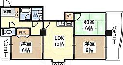 グラントピア新大阪 10階3LDKの間取り