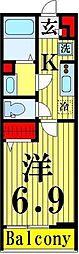 リブリ・江北II 2階1Kの間取り