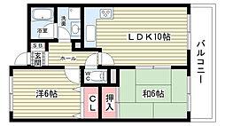 大阪府豊中市本町5丁目の賃貸マンションの間取り