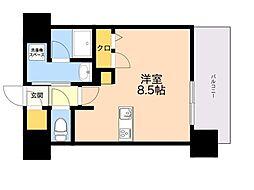 仮称)LANDIC 美野島3丁目 9階ワンルームの間取り