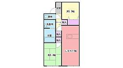 兵庫県三木市末広3丁目の賃貸アパートの間取り