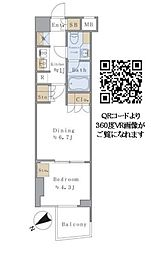 JR総武線 千駄ヶ谷駅 徒歩4分の賃貸マンション 5階1DKの間取り